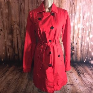 VolCom red trench coat Size Large EUC